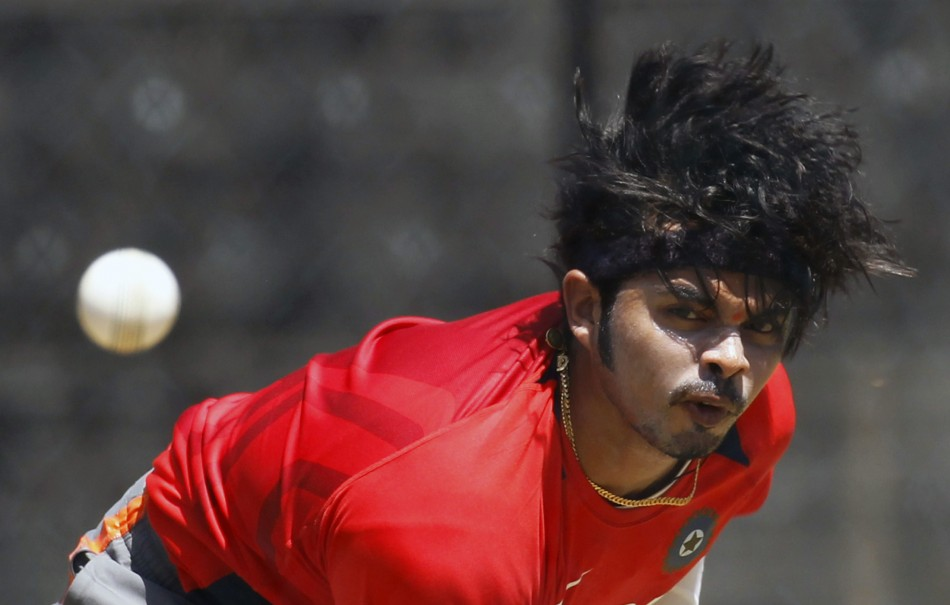Shanthakumaran Sreesanth sends a ball down the wicket
