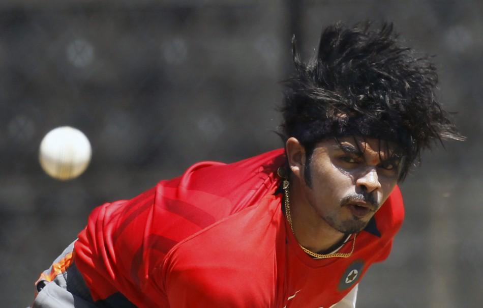 Shanthakumaran Sreesanth sends a ball down the wicket