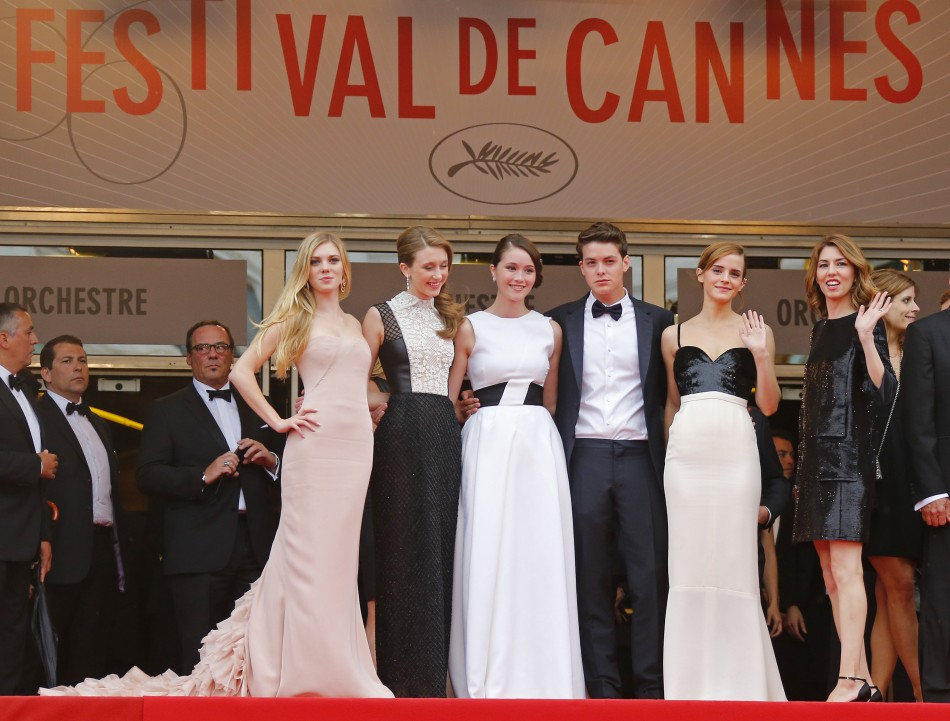 Director Sofia Coppola R and actresses Claire Julien L, Taissa Farmiga 2ndL, Katie Chang 3rdL, Emma Watson 2ndR and actor Israel Broussard, cast members of the film The Bling Ring, arrive for the screening of the film Jeune  J