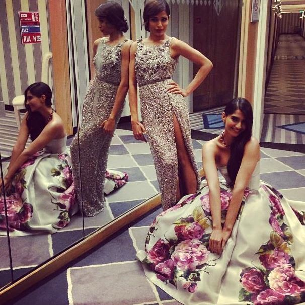 Actress Sonam Kapoor and Freida Pinto during the 66th Cannes Film Festival in Cannes May 16, 2013.