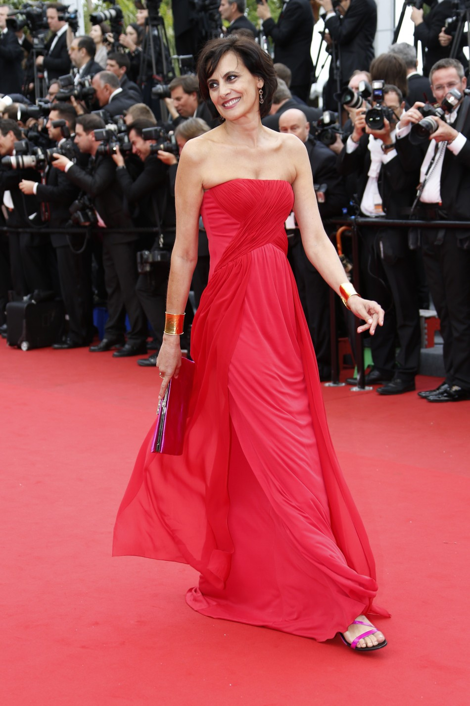 French fashion designer and former model Ines de la Fressange poses on the red carpet as she arrives for the screening of the film Jeune  Jolie Young  Beautiful in competition during the 66th Cannes Film Festival in Cannes May 16, 2013.