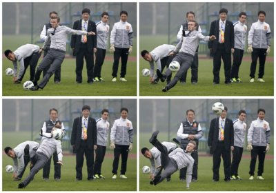 A combination picture shows former England captain David Beckham slipping as he free kicks at a sports field during his visit in Wuhan, Hubei province, March 23, 2013.
