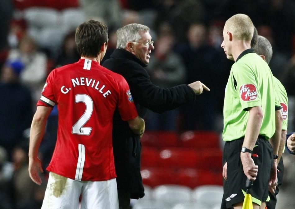 Gary Neville, Sir Alex Ferguson and Mike Dean