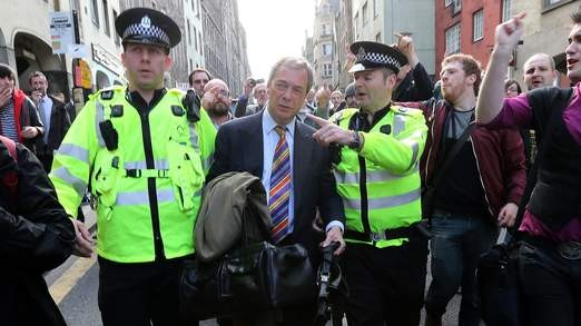Protesters hound Farage