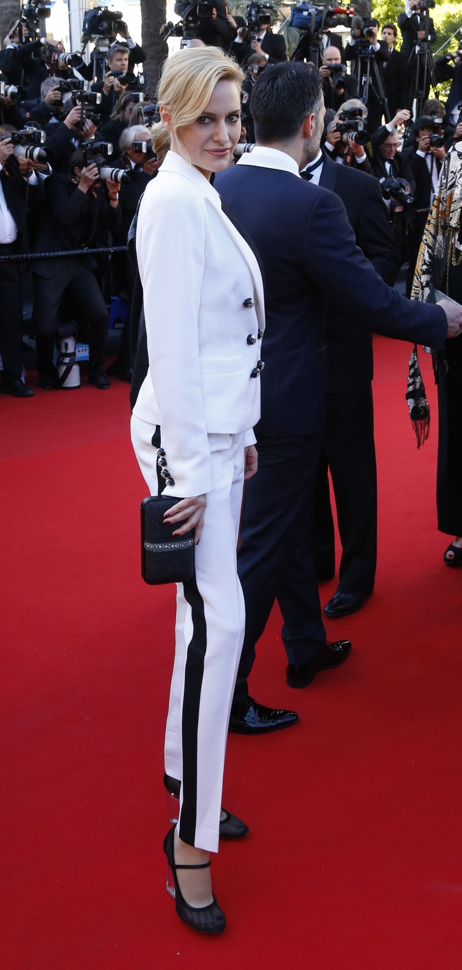 U.S. athlete, actress and fashion model Aimee Mullins poses on the red carpet as she arrives for the screening of the film 'Le Passe' (The Past) in competition during the 66th Cannes Film Festival in Cannes May 17, 2013