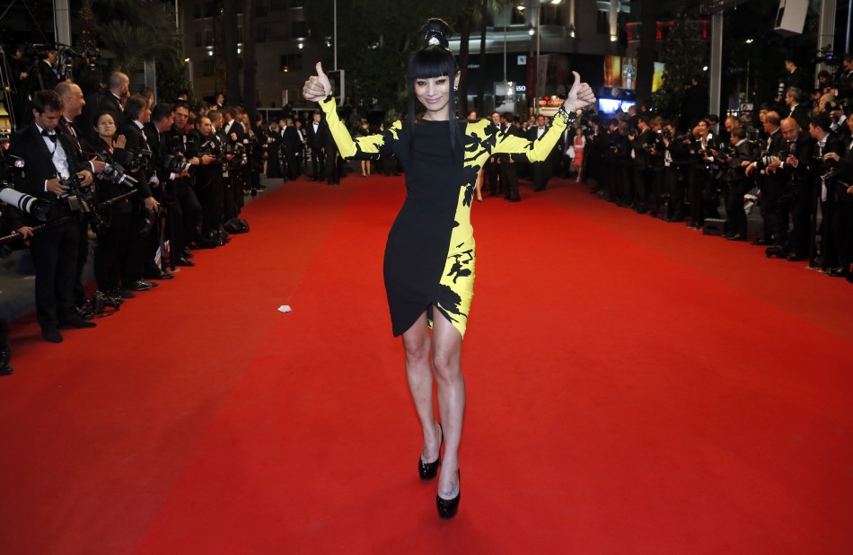 Actress Bai Ling poses on the red carpet as she arrives for the screening of the film 'Tian Zhu Ding' (A Touch of Sin) in competition during the 66th Cannes Film Festival in Cannes May 17, 2013.