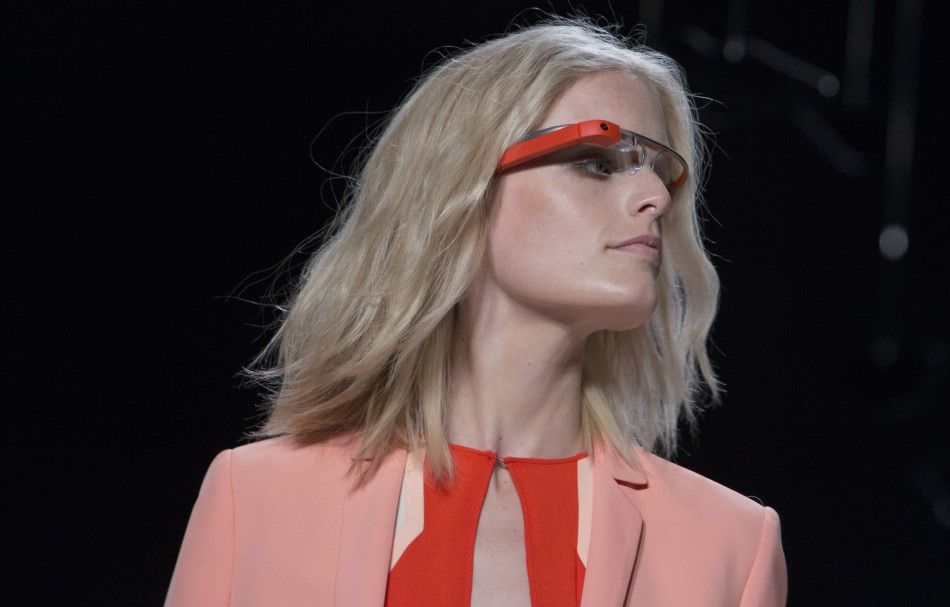 A model wearing Google Glass