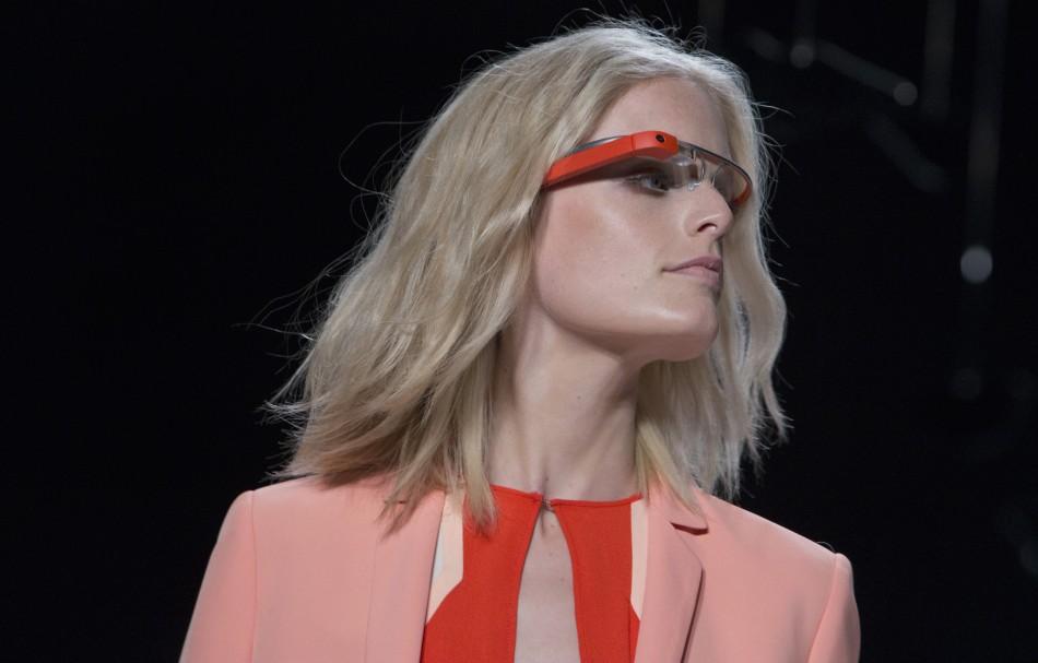 A model wearing Google Glass