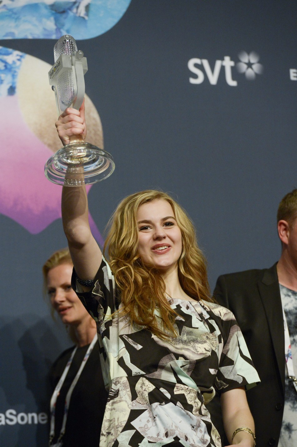Denmarks Emmelie De Forest holds her trophy after winning the 2013 Eurovision Song Contest with her song Only Teardrops during the finals of the contest held at the Malmo Opera Hall in Malmo May 18, 2013.