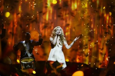Emmelie de Forest of Denmark performs the song Only Teardrops during the final of the 2013 Eurovision Song Contest at the Malmo Opera Hall in Malmo May 18, 2013