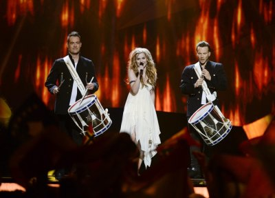Emmelie de Forest C of Denmark performs the song Only Teardrops during the final of the 2013 Eurovision Song Contest at the Malmo Opera Hall in Malmo May 18, 2013.