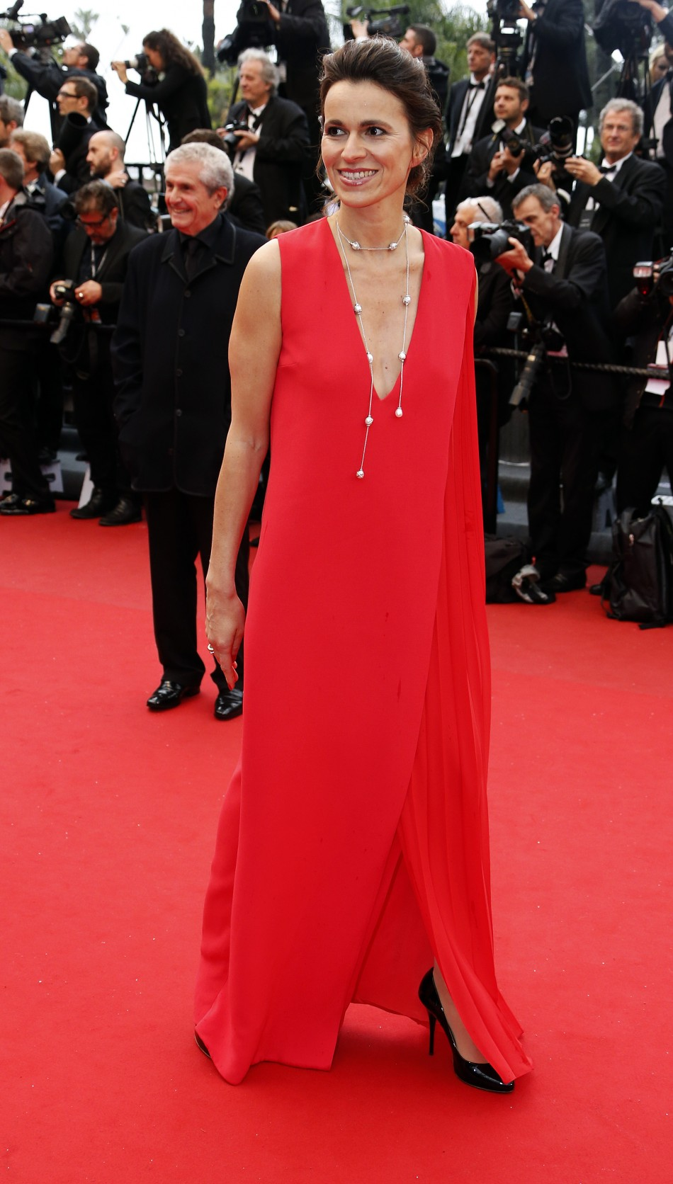 French Culture Minister Aurelie Filippetti poses on the red carpet as she arrives for the screening of the film Jimmy P. Psychotherapy of a Plains Indian in competition at the 66th Cannes Film Festival in Cannes May 18, 2013.