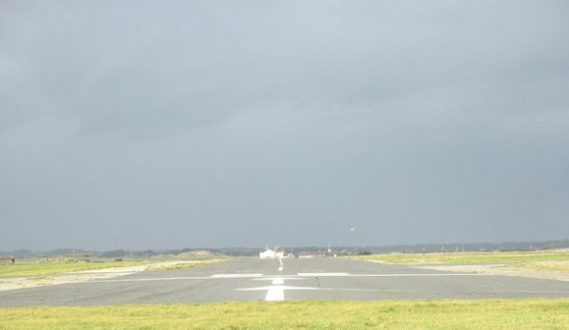 The main runway at Caernarfon Airport