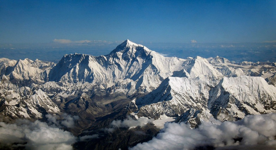 Mount Everest seen from the south from an aircraft