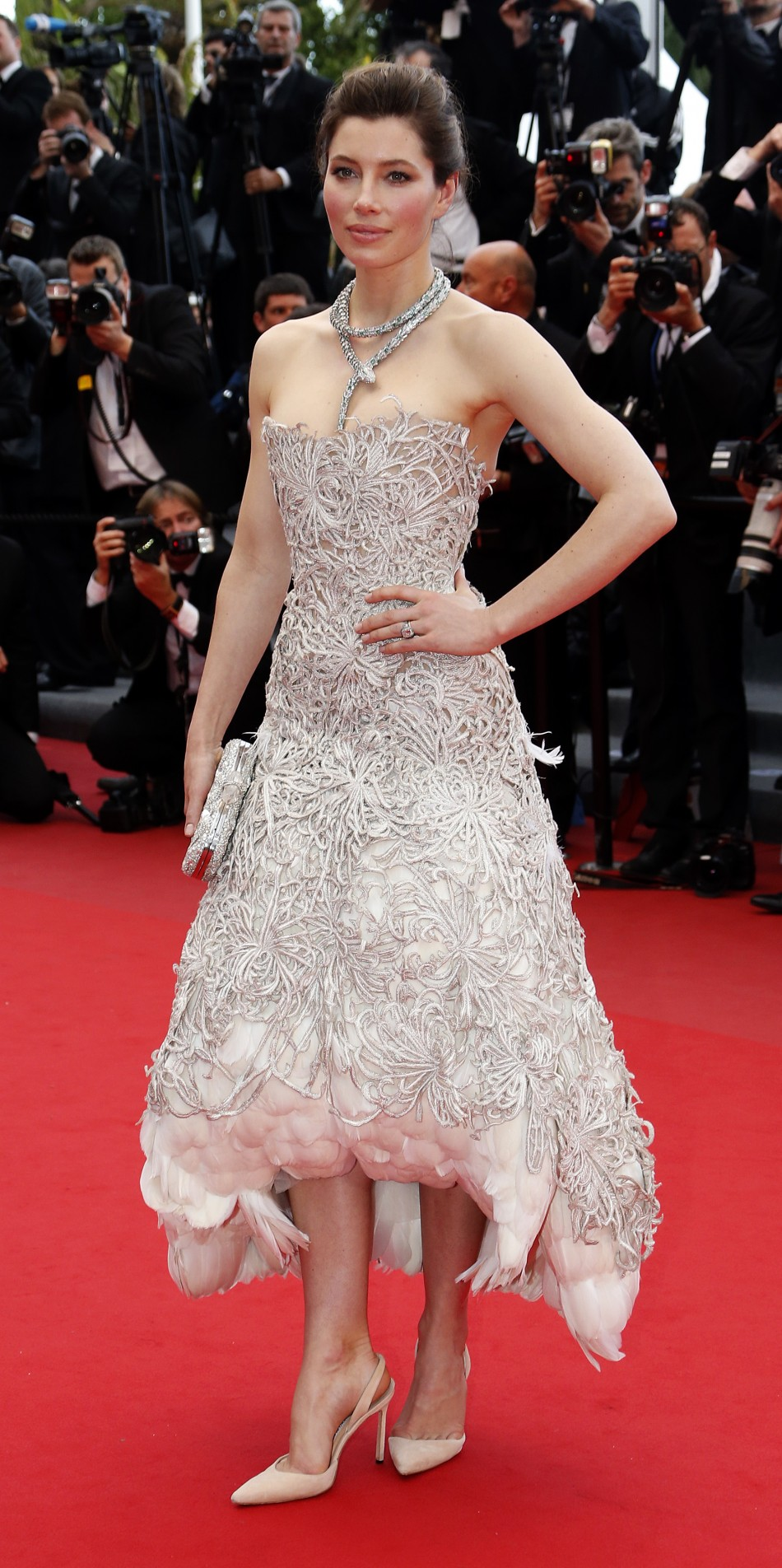Actress Jessica Biel poses on the red carpet as she arrives for the screening of the film Inside Llewyn Davis in competition during the 66th Cannes Film Festival in Cannes May 19, 2013.