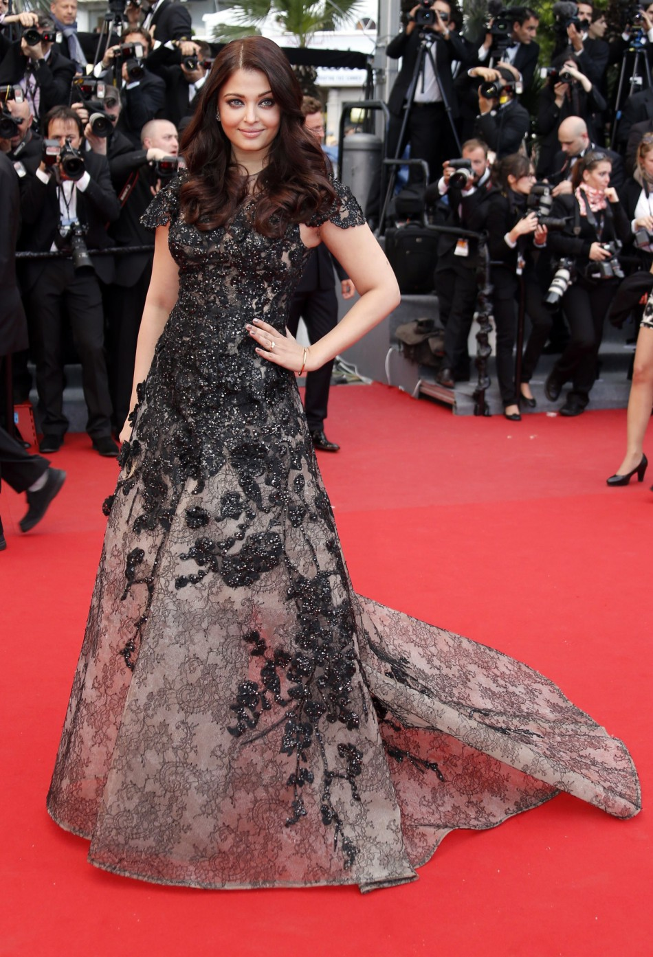 Indian actress Aishwarya Rai poses on the red carpet as she arrives for the screening of the film Inside Llewyn Davis in competition during the 66th Cannes Film Festival in Cannes May 19, 2013.