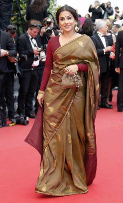 Jury Member actress Vidya Balan poses on the red carpet as she arrives for the screening of the film Inside Llewyn Davis in competition during the 66th Cannes Film Festival in Cannes May 19, 2013.