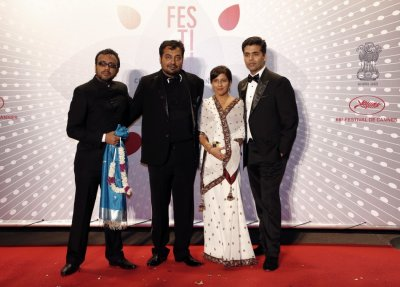Directors of the film Bombay Talkies Dibakar Banerjee, Anurag Kashyap, Zoya Akhtar and Karan Johar L-R pose upon arrival at the evenings gala of the film Bombay Talkies celebrating a hundred years of Indian cinema, during t