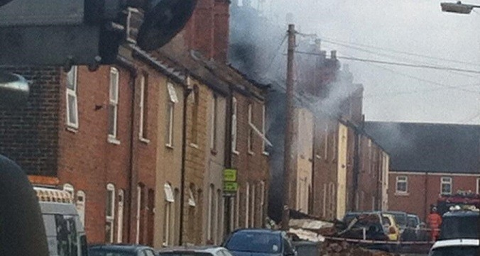 Photos from the scene show the house destroyed in the blast (Twitter/@Steevebeech71)
