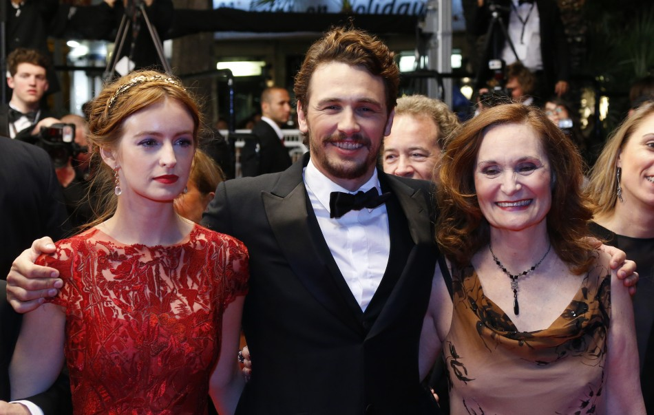 Director and actor James Franco C, cast members Ahna OReilly L and Beth Grant R pose on the red carpet as they arrive for the screening of the film As I Lay Dying in competition in Un certain Regard selection during the