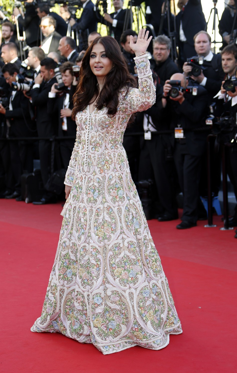 Indian actress Aishwarya Rai poses on the red carpet as she arrives for the screening of the film