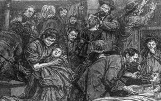 Starving Irish families flee ravages of potato famine 1846-1851