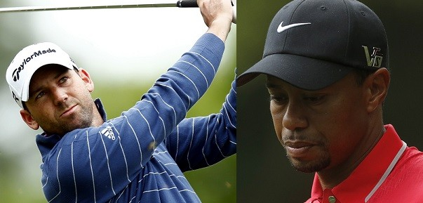 Sergio Garcia (L) and Tiger Woods have been involved in a public feud this month (Reuters)