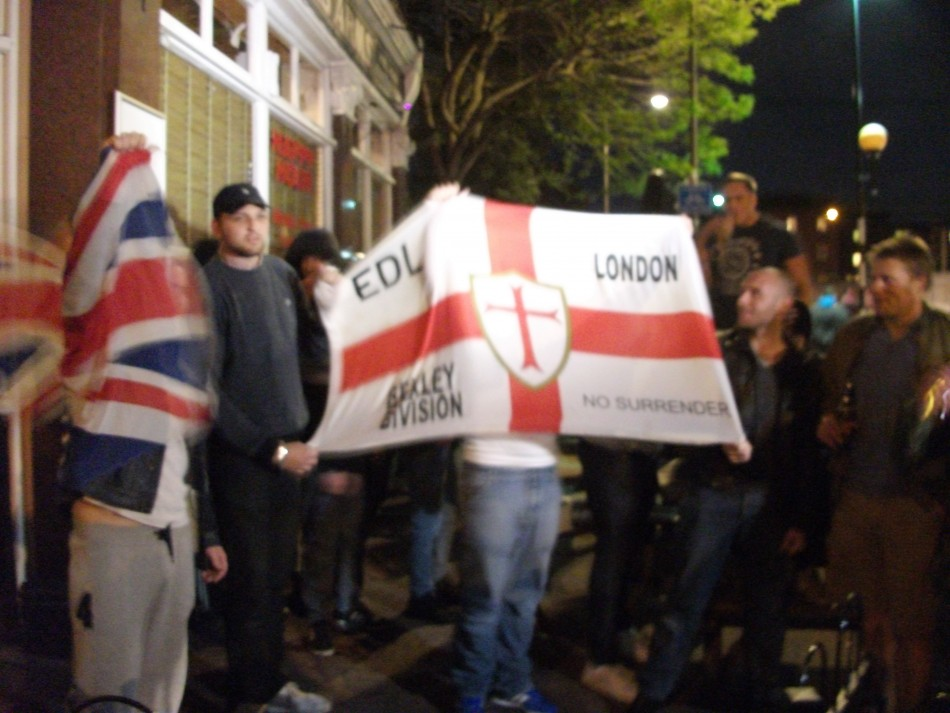 EDL supporters at the Queen's Arms pub in Burrage Close