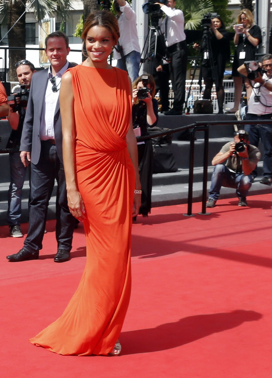 Cast member Anais Monory poses on the red carpet as she arrives for the screening of the film Grigris in competition during the 66th Cannes Film Festival in Cannes May 22, 2013.