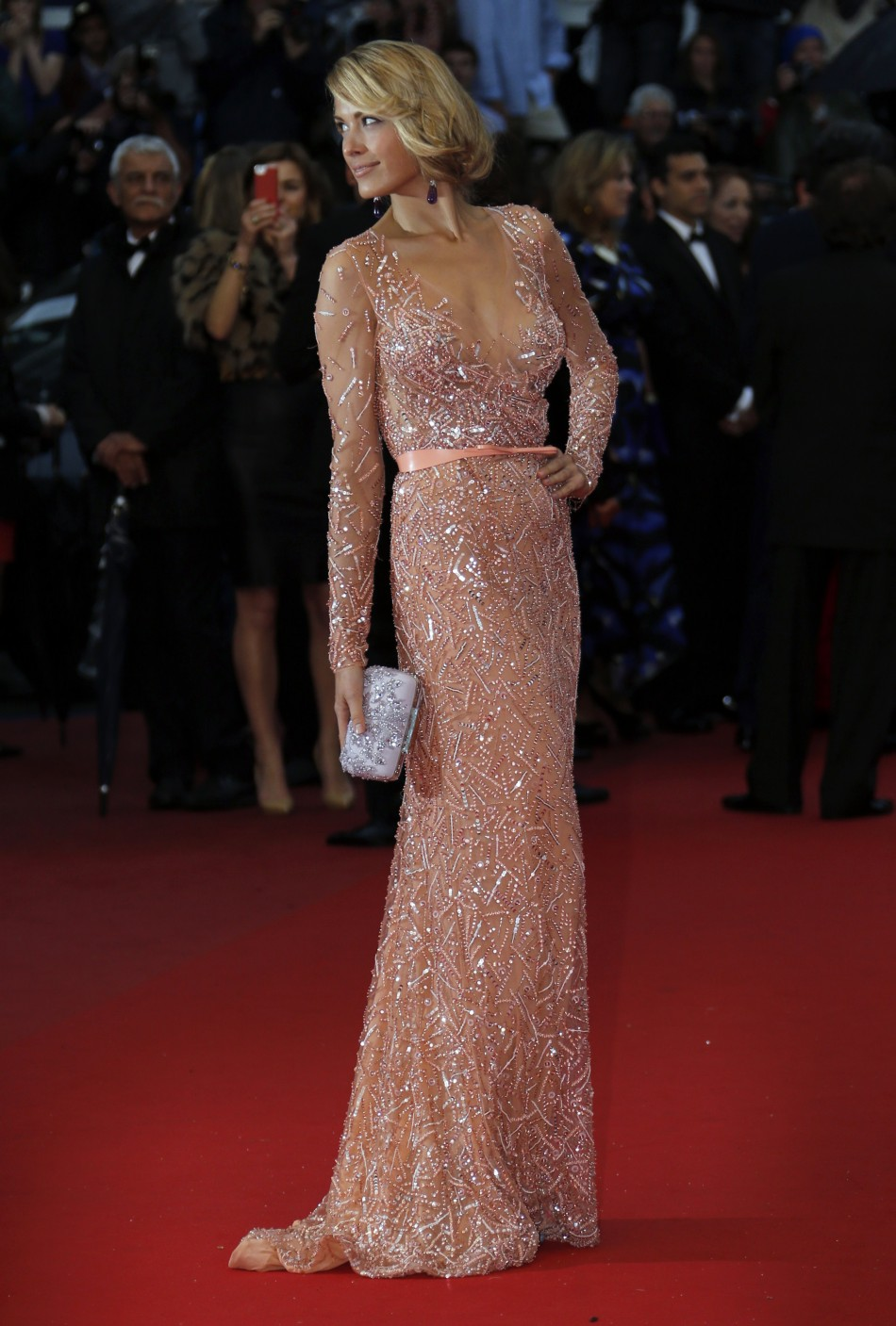 Model Petra Nemcova poses on the red carpet as she arrives for the screening of the film All is Lost during the 66th Cannes Film Festival in Cannes May 22, 2013.
