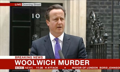 David Cameron was giving press conference about the Woolwich murder outside 10 downing Street
