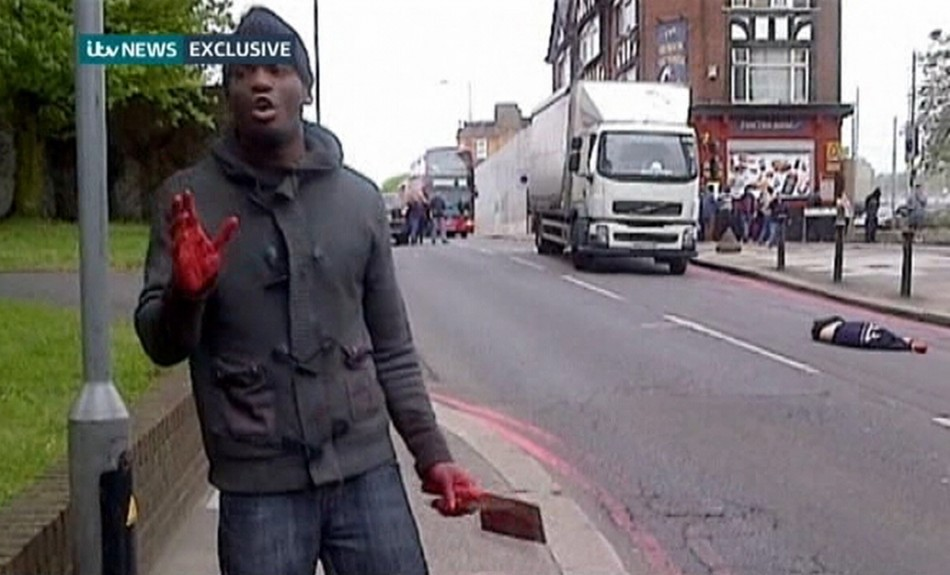 Killer displays his blood-soaked hand after slaying Lee Rigby