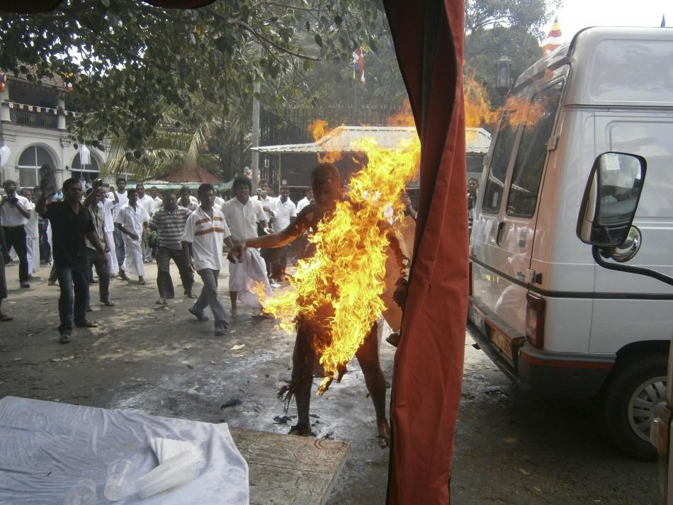 Buddhist Monk Sets Himself Ablaze in Sri Lanka