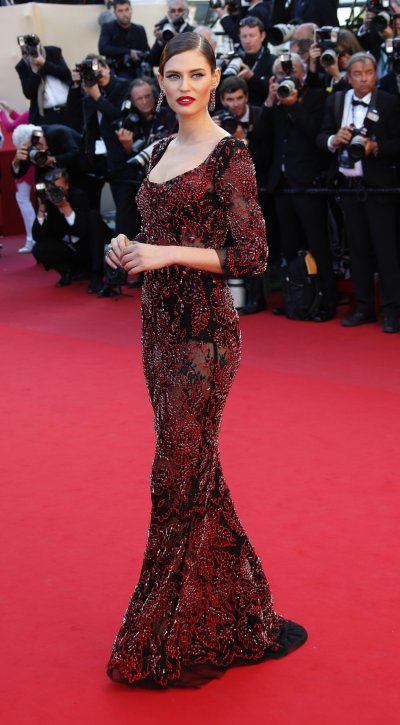 Model Bianca Balti poses on the red carpet as she arrives for the screening of the film La Venus a la Fourrure Venus in Fur in competition during the 66th Cannes Film Festival in Cannes May 25, 2013.