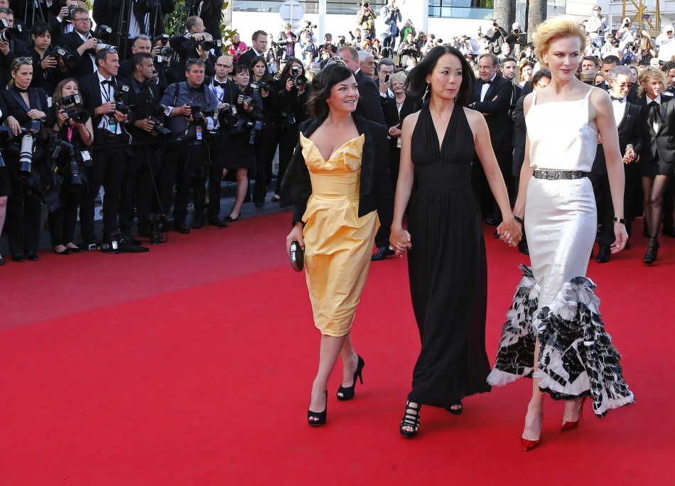 Jury members of the 66th Cannes Film Festival actress Nicole Kidman R, directors Naomi Kawase C and Lynne Ramsay L pose on the red carpet as they arrive for the screening of the film La Venus a la Fourrure Venus in Fur in competition d