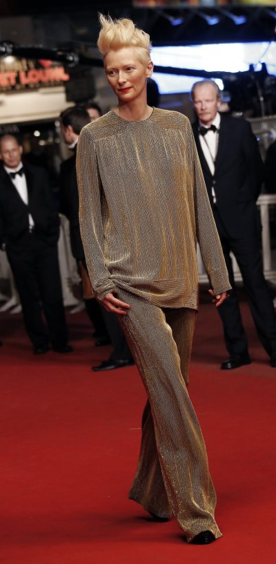 Cast member Tilda Swinton poses on the red carpet as she arrives for the screening of the film Only Lovers Left Alive in competition during the 66th Cannes Film Festival in Cannes May 25, 2013.