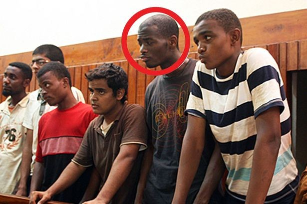 Adebolajo (circled) in a Kenyan court in 2010.