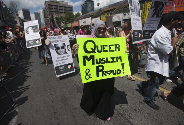 A Muslim woman takes part in a gay pride parade in Toronto last year.