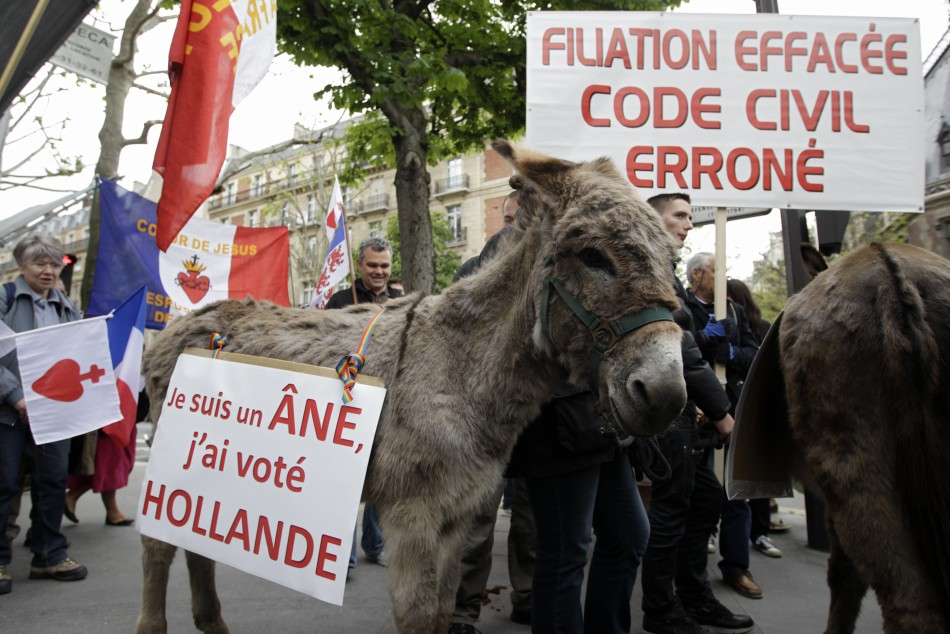 'Iam an ass, I voted for Hollande', reads the caption on the protester's donkey.