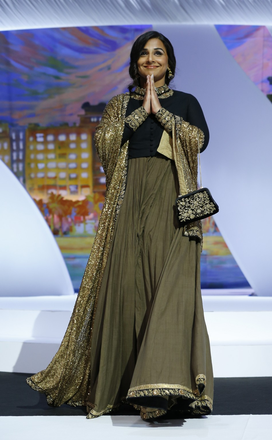 Jury member actress Vidya Balan arrives on stage during the closing ceremony of the 66th Cannes Film Festival in Cannes May 26, 2013.