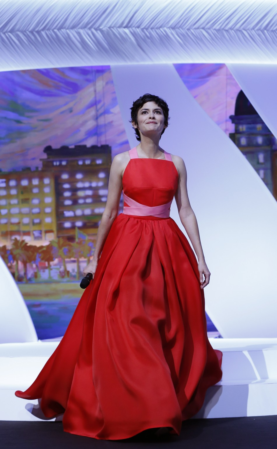 Mistress of Ceremony actress Audrey Tautou arrives on stage during the closing ceremony of the 66th Cannes Film Festival in Cannes May 26, 2013.