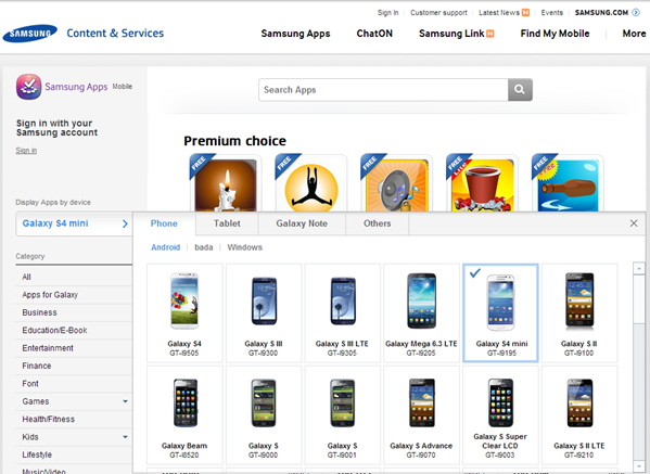 Samsung Galaxy S4 Mini on company website