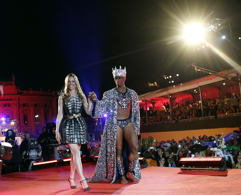 U.S. actress Hilary Swank arrives for the opening ceremony of the 21st Life Ball in Vienna.