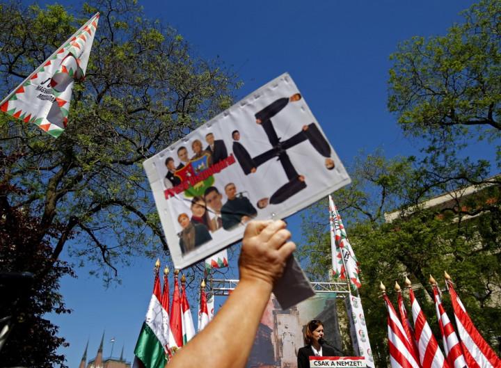 Eniko Kovacs Hegedus, parliamentary member of Hungary's far-right Jobbik party, delivers a speech