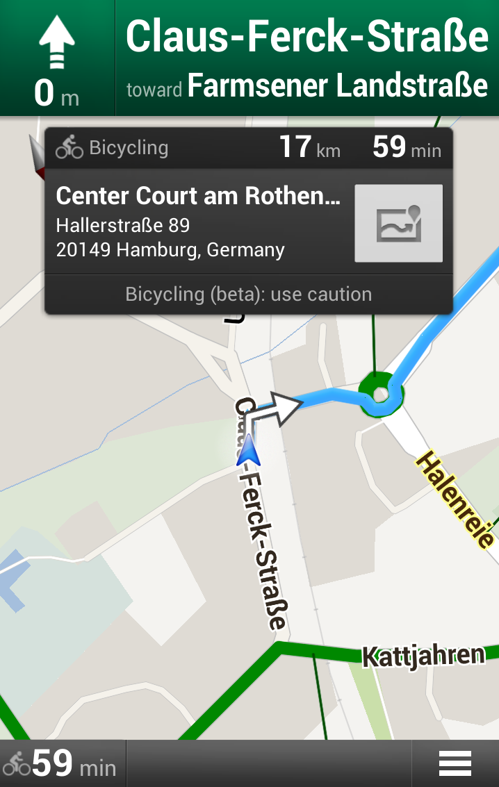 Google bike navigation system