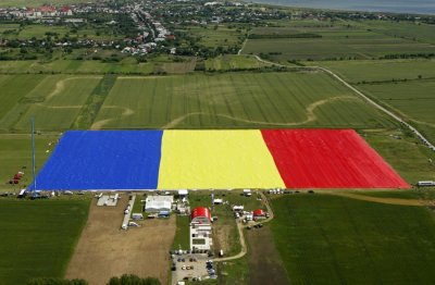 An aerial view of Romanias national flag during a Guinness World Record attempt for the worlds biggest national flag in Clinceni, near Bucharest May 27, 2013.