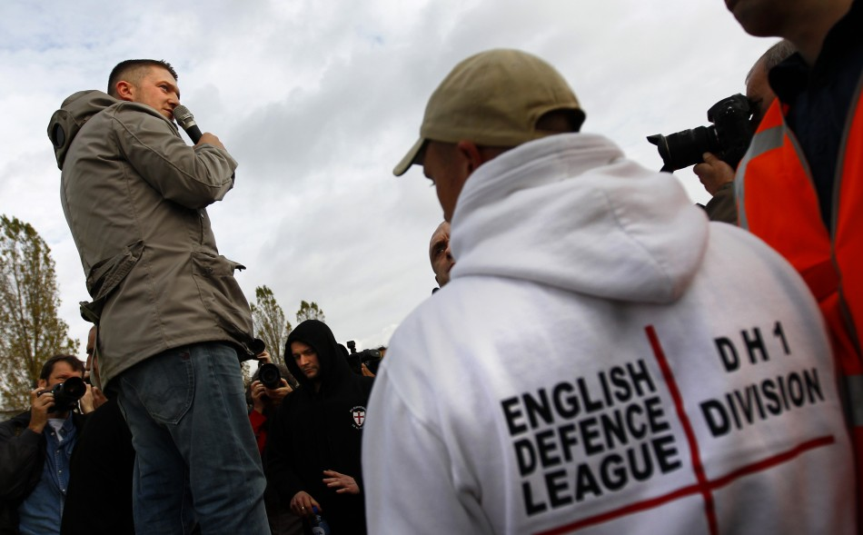 Stephen Lennon addressing an EDL gathering