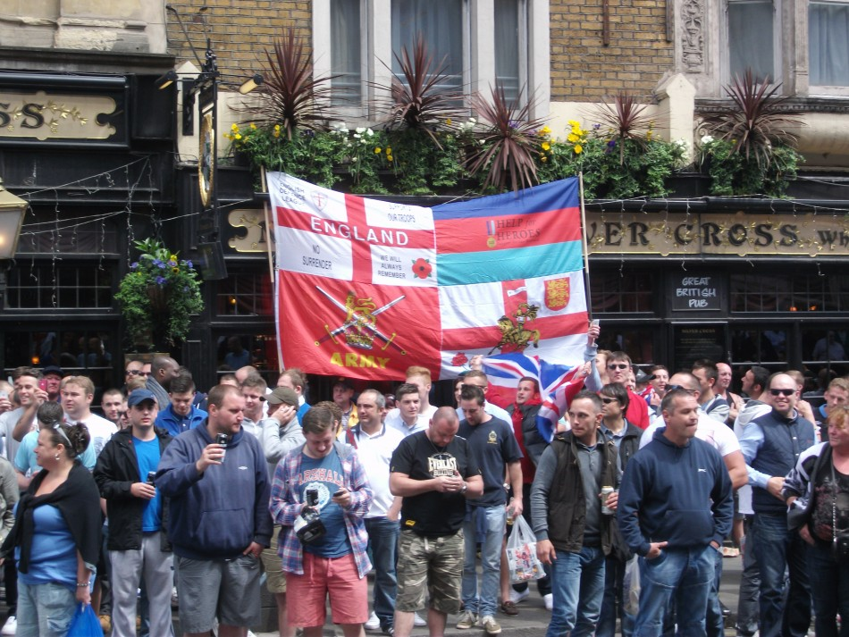 Terrace flavour: EDL supporters outside pub near Downing Street