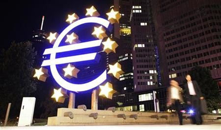 A sculpture showing the euro currency