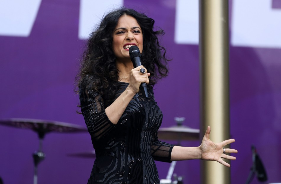 Actress Salma Hayek-Pinault speaks at The Sound of Change concert